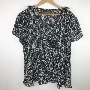East 5th black and white ruffle blouse 1X